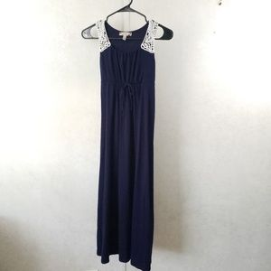 Speechless Navy Tie Front and Back Maxi Dress
